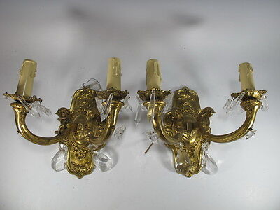 Pair of French Bronze Sconces with Glass Tear Drops - 5866