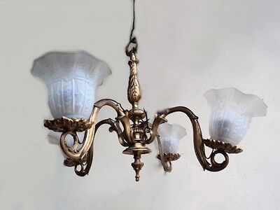 Nice French Bronze Chandelier with Glass Shades - 7280