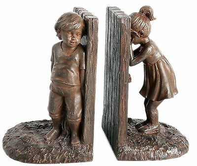 Pair Of Boy And Girl Hide And Seek Resin Bronzed Finish Bookends