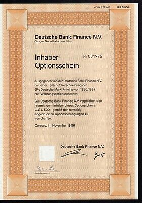Deutsche Bank Finance NV Curacao Netherlands Antilles - old warrant dd 1986