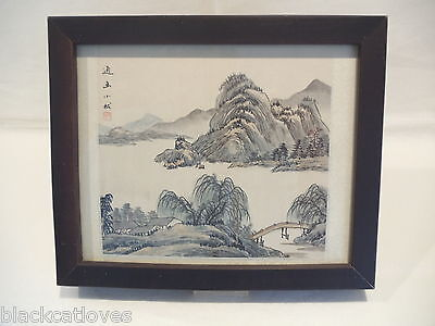 Vintage Japanese / Chinese Watercolour Of Mountain & Lake Scene On Silk Signed