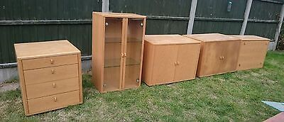 Light Oak Living Room Glass Cabinets Drinks Drawers Cupboards...we Can Deliver