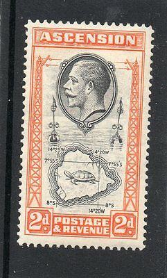 ASCENSION GV 1934 2d black&orange sg 24 L.H.Mint