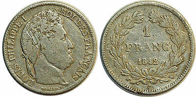 Louis Philippe 1 Franc 1842 W Lille F.210