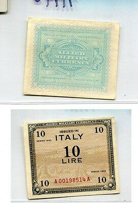 Italy 10 Lire 1943 Military Currency Note Au 7194G