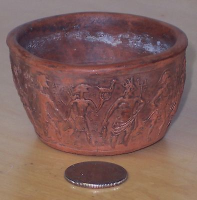 Small Vintage Greek Embossed Pottery Bowl