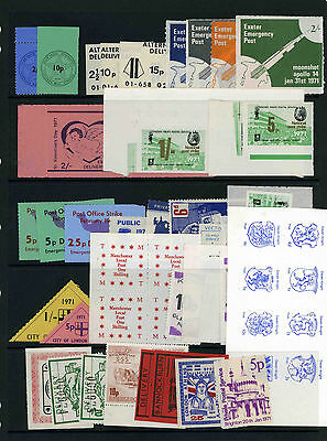 1971 Postal Strike selection of unused labels on two stockpages