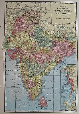 1903 Antique INDIA Map Beautiful Vintage Map of India Gallery Wall Art 3286
