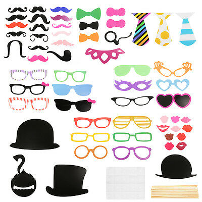 58x Party DIY Photo Booth Props Mask Glasses On A Stick Wedding Decoration WV233