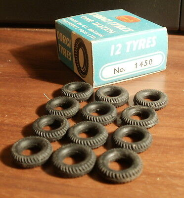 1960s Corgi Toys 1450 SPARE TYRES x 12 in original box - medium size, most cars