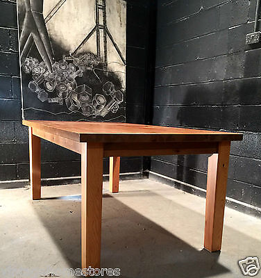 Solid Farmhouse Modern Pine Wood Dining Table With Chunky Top Furniture