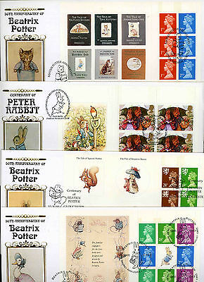 1993 Beatrix Potter complete booklet prestige panes used on four Benham fdc