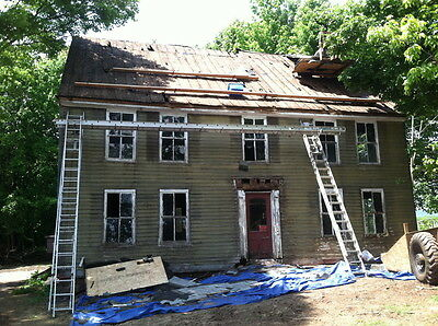 Dismantled 18th century Hand hewn timber frame plank house post & beam panneling