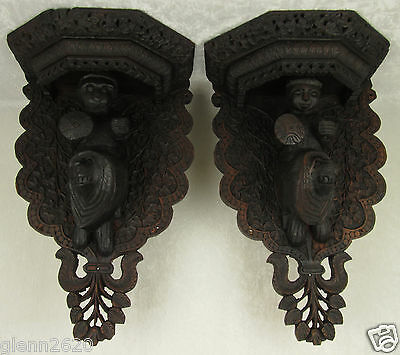 Pair Wood Corbel Shelf Bracket Sconce India Hand Carved 18 x 11 x 8 inch Vintage