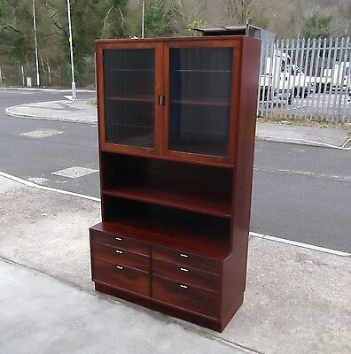 Vintage Danish Rosewood Veneer Bookcase Storage Unit   Delivery Available