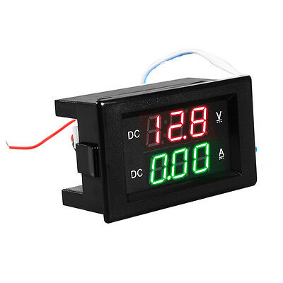 DC 100V 50A Voltmeter Ammeter Red+Green LED Dual Digital Volt Meter Gauge TE525