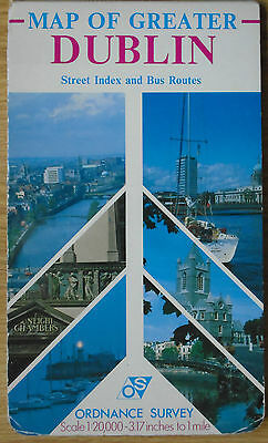 Dublin City Ireland - Ordnance Survey Os Map 1986 Includes Street Index Booklet