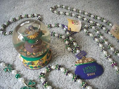 Vintage Musical Jester Snow Globe GRAND CASINO Mississippi + 6 Beaded Necklaces!
