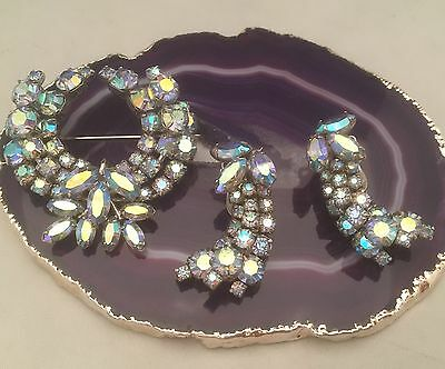 BEAUTY! Vintage SHERMAN Signed 3 Layer AB Demi Parure Brooch & Earrings Set-L194