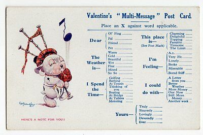 Valentines Multi Message PC Bonzo in Kilt w Bagpipes by George Studdy