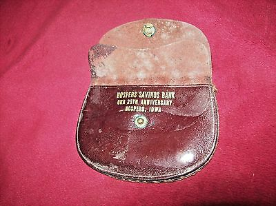Vtg 1938 Leather Advertising Coin Purse, Hospers Savings Bank in Hospers, IA.