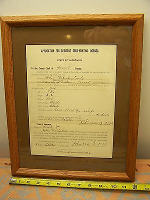 Rare 1897 Forest County Wisconsin  Application For Deer Hunting License Indian