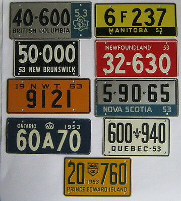 SET OF 9 DIFFERENT 1953 Wheaties Cereal Premium CANADIAN License Plates