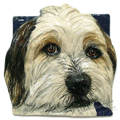 Bearded Collie Tile Ceramic handmade bas-relief by Sondra Alexander Art