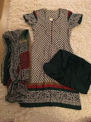 Women's Beautiful Burki Tunic With Shawl And Trousers Size 8 Excellent Condition