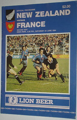 New Zealand France Rugby Union Programme 1984  At Eden Park