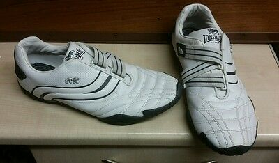 Lonsdale White Leather Trainers Size 11 Uk.velcro Fastening.  Some Marks On Them