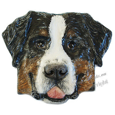 Bernese Mountain Dog Ceramic portrait 3d tile handmade sculpture Alexander Art