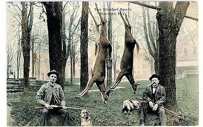 Stamford NY - DEER HUNTERS IN TOWN PARK - Handcolored Postcard