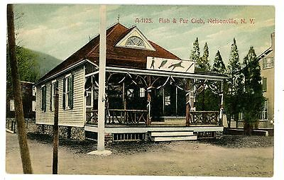 Nelsonville NY - FISH & FUR CLUB ON MAIN STREET - Postcard Cold Spring