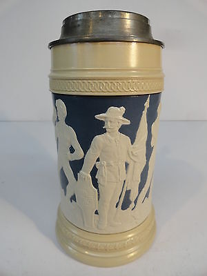 Mettlach Beer Stein Tankard 2278 4F Weightlifting Wrestling Athletic Date 1897