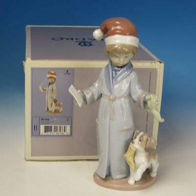 Lladro Porcelain Figure with Box - Dear Santa - Boy with Dog and Letter #6166