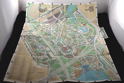 Vtg 1964 1965 New York Worlds Fair Official Souvenir Map Double Sided Poster Vgc