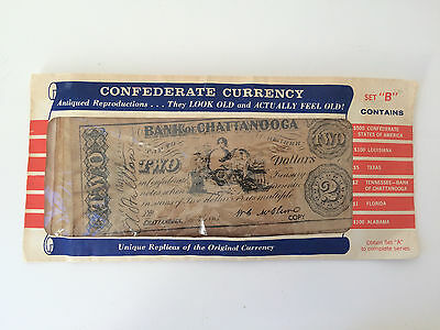 Confederate Currency Reproductions - 6 Paper Bills- SET B