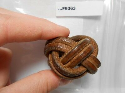 Leather Woven Knot Neckerchief Slide  Woodbadge Vintage F9363