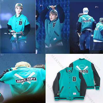Kpop BTS Jung Kook Coat Bangtan Boys Baseball Jumper ARMY.ZIP+ Varsity Jacket V
