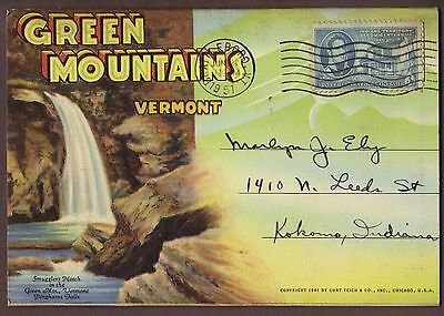 Green Mountains Vermont 18 view 1941 Fold-out Postcard
