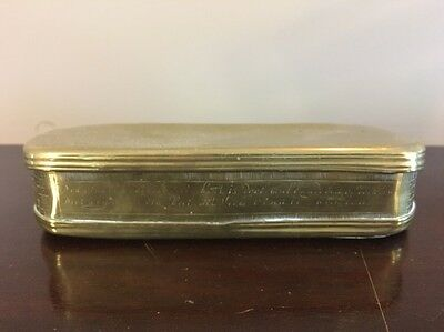 Antique Early Dutch Brass Engraved Primitive Looking Tobacco Box