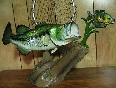 "Large Mouth Bass Taxidermy Quality 20"" Statue w Pan Fish"