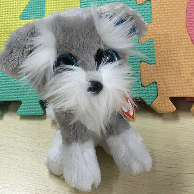 Soft Toy From TY BEANIES BOOS Whiskers gray dog 6 inch tall Stuffed toy Cutie