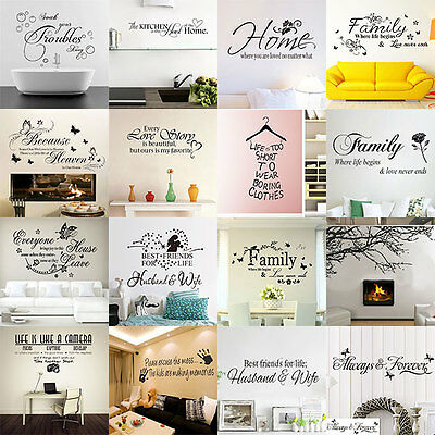 Family DIY Removable Vinyl Quote Wall Stickers Decal Mural Home Decor Room