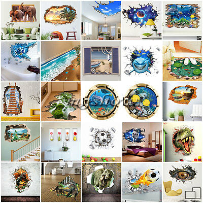 3D Broken Family DIY Removable Vinyl Wall Stickers Decal Mural Kids Decor Room
