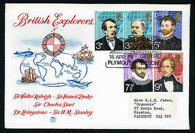 1973 Explorers set on fdc with Drakes Island Plymouth handstamp