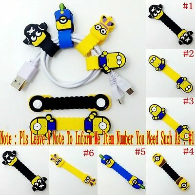1PCS Kids Cartoon Minions USB/Headphone Wire Cord Cable Winder Fixer Holder