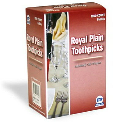 1 Box 1000 Count Individually Cello Wrapped Plain Toothpicks RIW15 Royal Paper