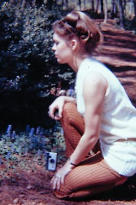 Beautiful Young Woman with Camera Kneels 1970 Vintage Mounted Color Slide